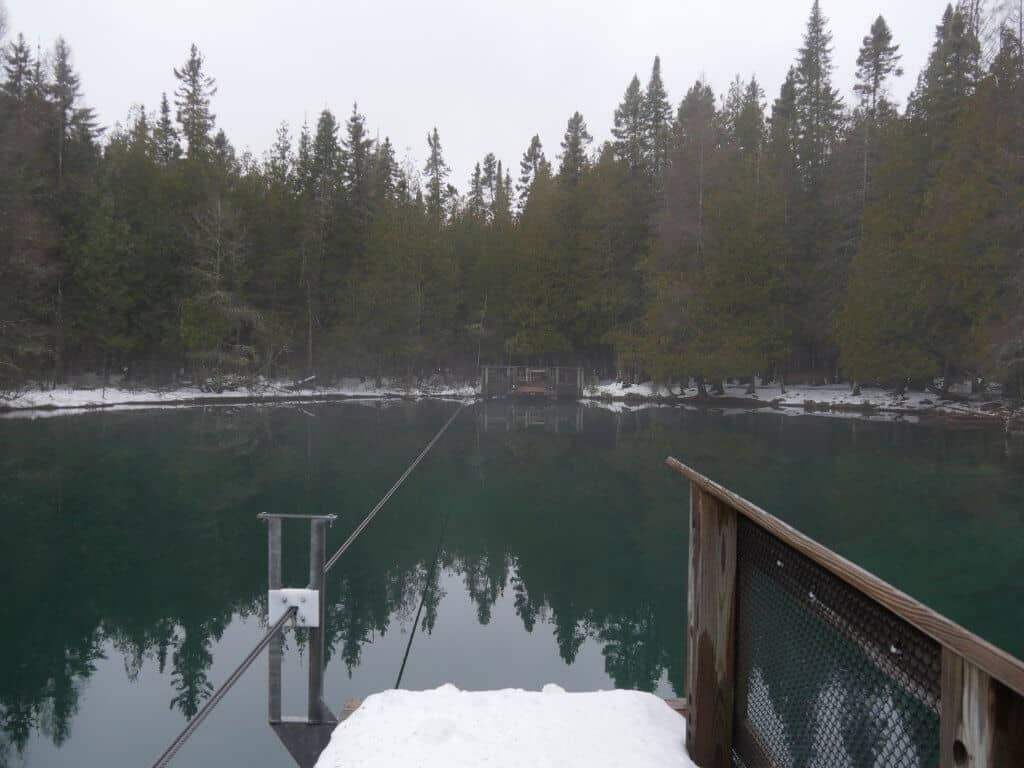 The floating dock at Kitch-iti-kipi Spring
