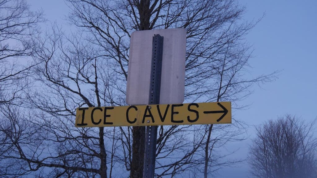 Eben Ice Caves Sign