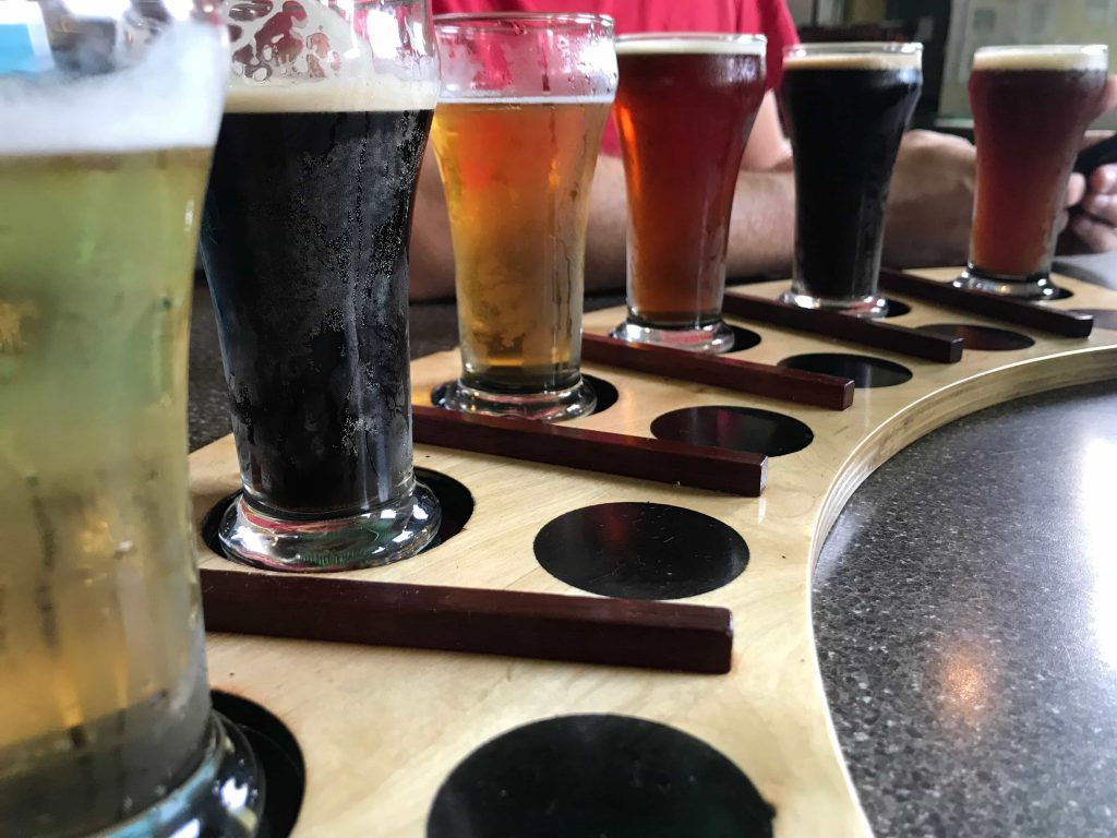 beer flight at right brain brewery